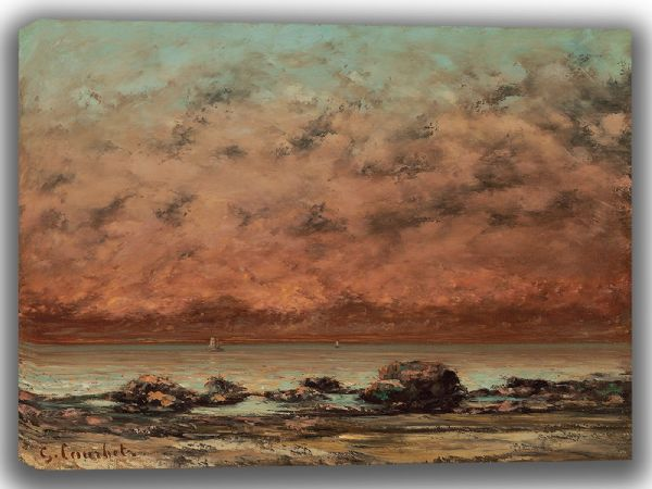 Courbet, Gustave: The Black Rocks at Trouville. Fine Art Canvas. Sizes: A4/A3/A2/A1 (003563)